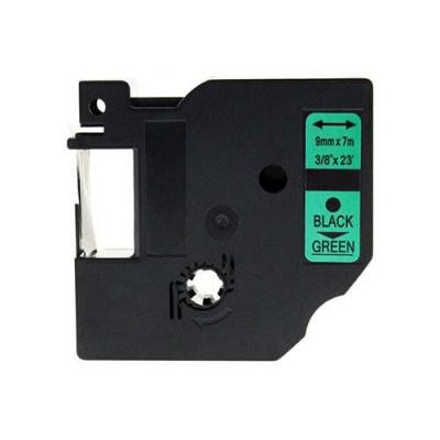 Kompatibilná páska s Dymo 40919, S0720740, 9mm x 7m, čierna tlač/zelený podklad