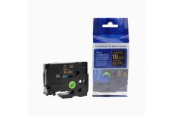 Kompatibilná páska s Brother TZ-344 / TZe-344, 18mm x 8m, zlatá tlač / čierny podklad
