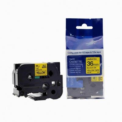 Kompatibilná páska s Brother TZ-661 / TZe-661, 36mm x 8m, čierna tlač / žltý podklad