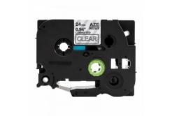 Kompatibilná páska s Brother TZ-S155 / TZe-S155, 24mm x 8m, extr.adh. biela tlač / priehľadný podklad