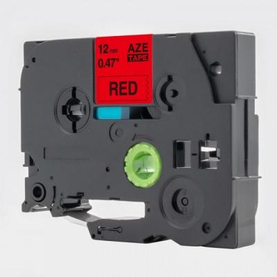 Brother TZe-V431, 12mm x 5,5m, černý tisk / červený podklad, vinyl, kompatibilní páska