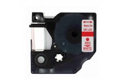 Kompatibilná páska s Dymo 40915, S0720700, 9mm x 7m červená tlač / biely podklad