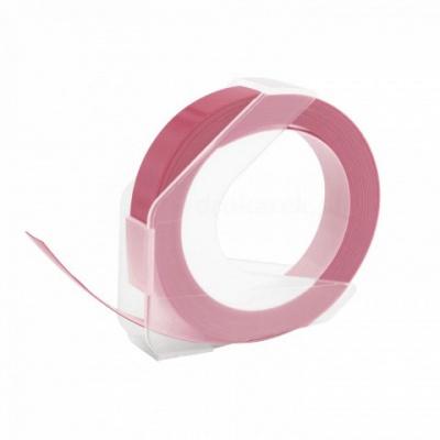 Dymo Omega, 9mm x 3m, biela tlač / ružový podklad, kompatibilná páska
