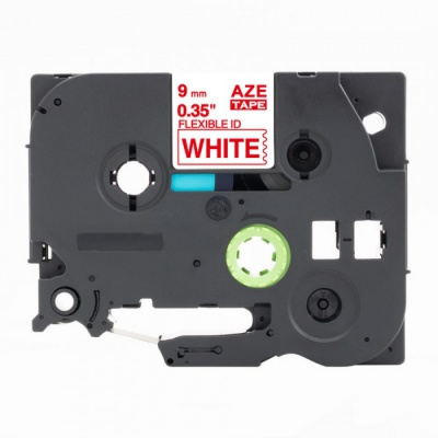 Kompatibilná páska s Brother TZ-FX222 / TZe-FX222, 9mm x 8m, flexi, červená tlač / biely podklad