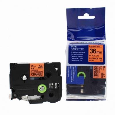 Kompatibilná páska s Brother TZ-B61/TZe-B61, signálne 36mm x 8m, čierna tlač/oranžový podklad