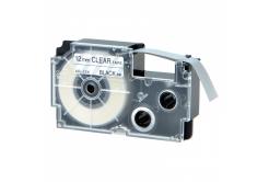 Kompatibilná páska s Casio XR-12AX 12mm x 8m čierny tisk / priehľadný podklad