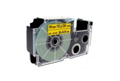 Kompatibilná páska s Casio XR-18YW1, 18mm x 8m, čierna tlač/žltý podklad