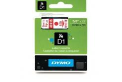 Dymo D1 40915, S0720700, 9mm x 7m, červená tlač / biely podklad, originálna páska