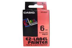 Casio XR-6RD1, 6mm x 8m, čierna tlač/červený podklad, originálna páska