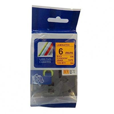 Kompatibilná páska s Brother TZ-B11/TZe-B11, signálne 6mm x 8m, čierna tlač/oranžový podklad