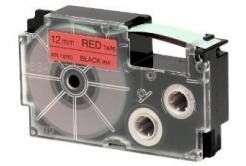 Casio XR-12RD1, 12mm x 8m, čierna tlač/červený podklad, originálna páska