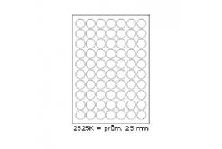 Samolepiace etikety 25 x 25 mm, 70 etikiet, A4, 100 listov