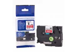 Kompatibilní páska s Brother TZ-415 / TZe-415, 6mm x 8m, bílý tisk / červený podklad