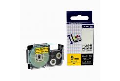 Kompatibilná páska s Casio XR-9YW1, 9mm x 8m, čierna tlač/žltý podklad