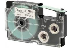 Casio XR-9X1, 9mm x 8m, čierna tlač/priehľadný podklad, originálna páska