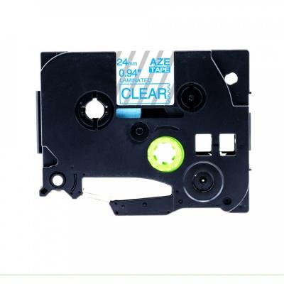 Kompatibilná páska s Brother TZ-153 / TZe-153, 24mm x 8m, modrá tlač / priehľadný podklad