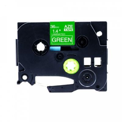 Kompatibilná páska s Brother TZ-765 / TZe-765, 36mm x 8m, biela tlač / zelený podklad