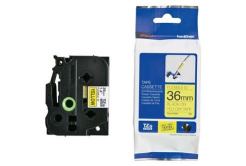 Brother TZ-FX661 / TZe-FX661, 36mm x 8m, flexi, čierna tlač / žltý podklad, originálna páska