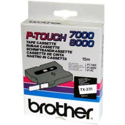 Brother TX-231, 12mm x 15m, čierna tlač / biely podklad, originálna páska