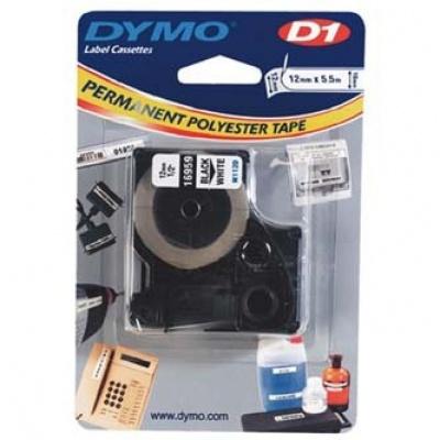 Dymo D1 16959, S0718060, 12mm x 5.5m, čierna tlač/biely podklad, originálná páska