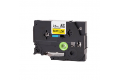 Kompatibilná páska s Brother TZ-C51/TZe-C51, signálne 24mm x 8m, čierna tlač/žltý podklad