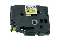 Kompatibilná páska s Brother TZ-FX641/TZe-FX641 18mm x 8m, flexi, čierny tisk/žltý podklad