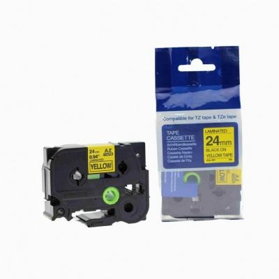 Kompatibilná páska s Brother TZ-651 / TZe-651, 24mm x 8m, čierna tlač / žltý podklad