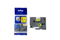 Kompatibilní páska s Brother TZ-FX611/TZe-FX611, 6mm x 8m, flexi, černý tisk/žlutý podklad