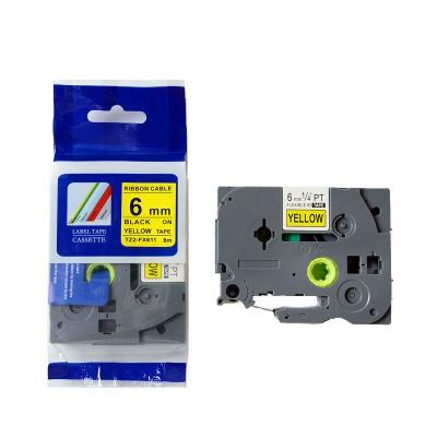 Kompatibilná páska s Brother TZ-FX611/TZe-FX611, 6mm x 8m, flexi, čierny tisk/žltý podklad
