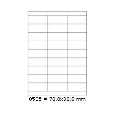 Samolepiace etikety 70 x 30 mm, 27 etikiet, A4, 100 listov