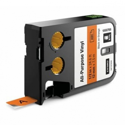 Dymo 1868766, 12mm x 7m, čierna tlač/oranžový podklad, originálna páska