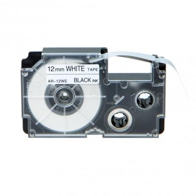 Kompatibilná páska s Casio XR-12WE1, 12mm x 8m, čierna tlač/biely podklad