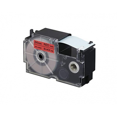Kompatibilná páska s Casio XR-24RD1, 24mm x 8m, čierny tisk / červený podklad