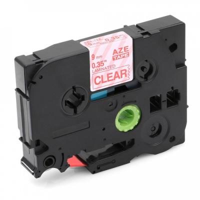 Kompatibilná páska s Brother TZ-122 / TZe-122, 9mm x 8m, červená tlač / priehľadný podklad