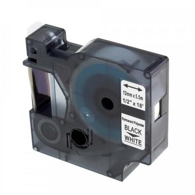 Kompatibilná páska s Dymo 18483, Rhino, 12mm x 5,5m čierna tlač / biely podklad, polyester