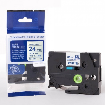 Kompatibilná páska s Brother TZe-FA5, 24mm x 3m, modrá tlač / biely podklad, zažehlovací