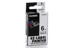 Casio XR-6WE1, 6mm x 8m, čierna tlač/biely podklad, originálna páska