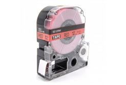 Epson LC-SC12RW, 12mm x 8m, černý tisk / červený podklad, kompatibilní páska