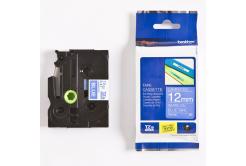 Brother TZ-535 / TZe-535, 12mm x 8m, biela tlač / modrý podklad, originálna páska