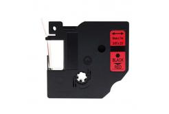 Kompatibilná páska s Dymo 40917, S0720720, 9mm x 7m, čierna tlač/červený podklad