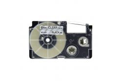 Kompatibilná páska s Casio XR-6X1, 6mm x 8m čierny tisk / priehľadný podklad