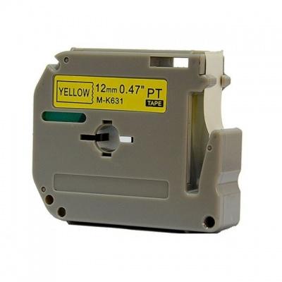 Kompatibilná páska s Brother MK-631, 12mm x 8m, čierna tlač / žltý podklad
