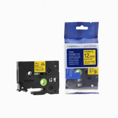 Kompatibilná páska s Brother TZ-FX631/TZe-FX631 12mm x 8m, flexi, čierna tlač/žltý podklad
