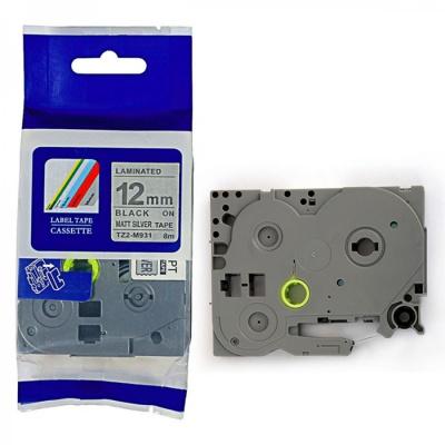 Kompatibilná páska s Brother TZ-M931 / TZe-M931, 12mm x 8m, čierna tlač / strieborný podklad