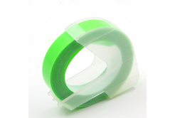 Dymo Omega, 9mm x 3m, biela tlač / fluorescenčný zelený podklad, kompatibilná páska