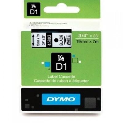 Dymo 45803, S0720830, 19mm x 7m, čierna tlač / biely podklad, originálna páska