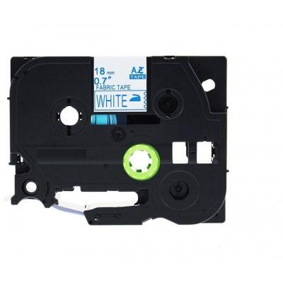 Kompatibilná páska s Brother TZe-FA4, 18mm x 3m, modrá tlač / biely podklad, zažehlovací