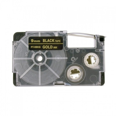 Kompatibilná páska s Casio XR-9BKG 9mm x 8m zlatá tlač / čierny podklad