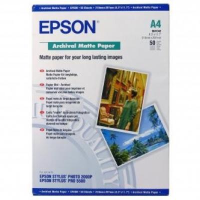 Epson Archival Matte Paper, bílá, 50, ks C13S041342, pro inkoustové tiskárny, 210x297mm (A4), A