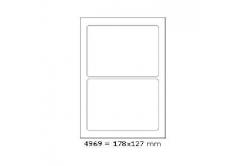 Samolepiace etikety 178 x 127 mm, 2 etikiet, A4, 100 listov